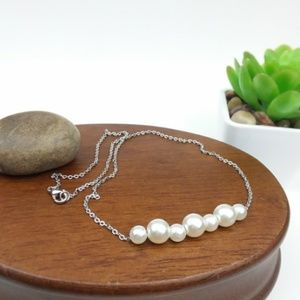 Faux Pearl Beaded Silver Tone Chain Necklace